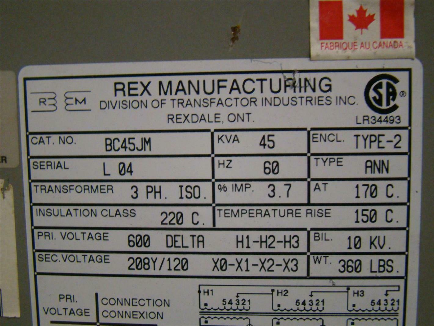 Rex Manufacturing Transformer Wiring Diagram Pri 3ph Iso 45kva 600dx208y 120 Bc45jm Ebay Connection Diagrams