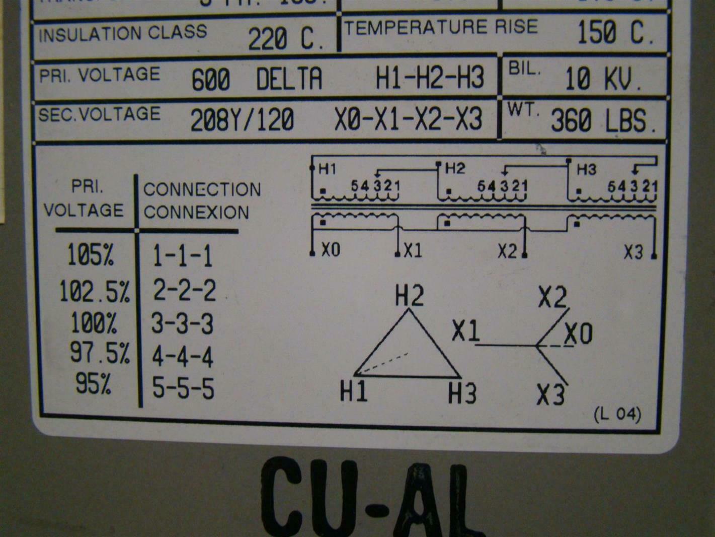 Rex Manufacturing Transformer Wiring Diagram 3ph Iso 45kva 600dx208y 120 Bc45jm Ebay 480 Volt