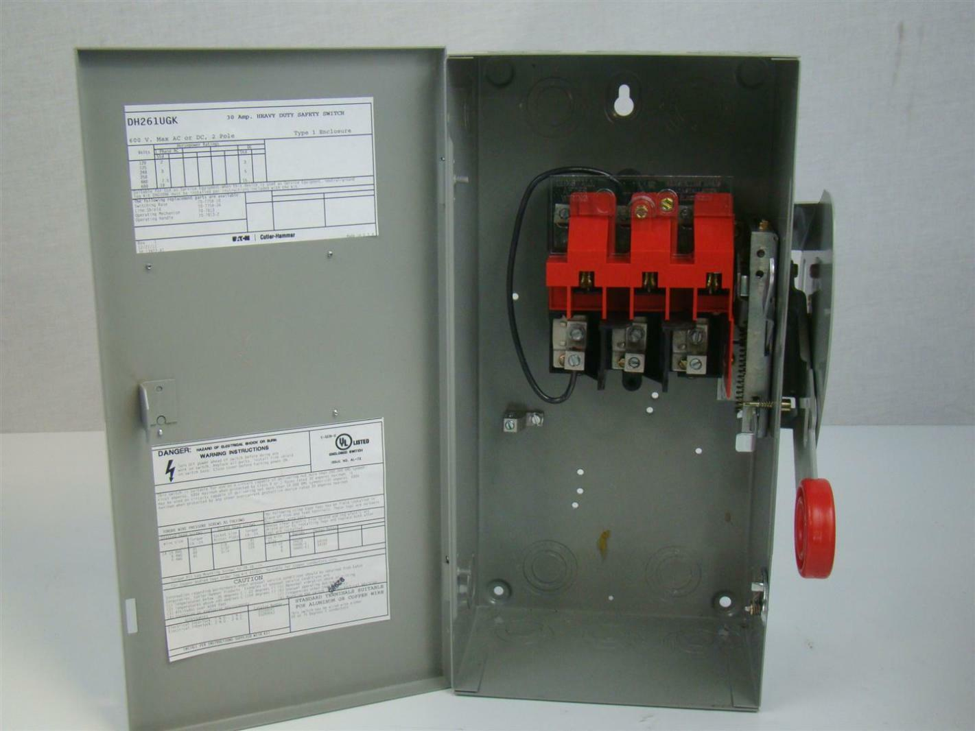 Eaton Cutler-Hammer 30A 600v Heavy Duty Safety Switch 2P 3W NON ...