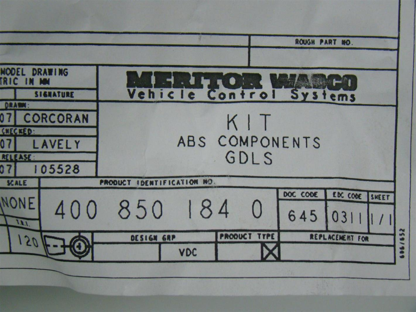 Wabco ABS Components Kit Vehicle Control Systems ECU & Valves 377053 400  850 184