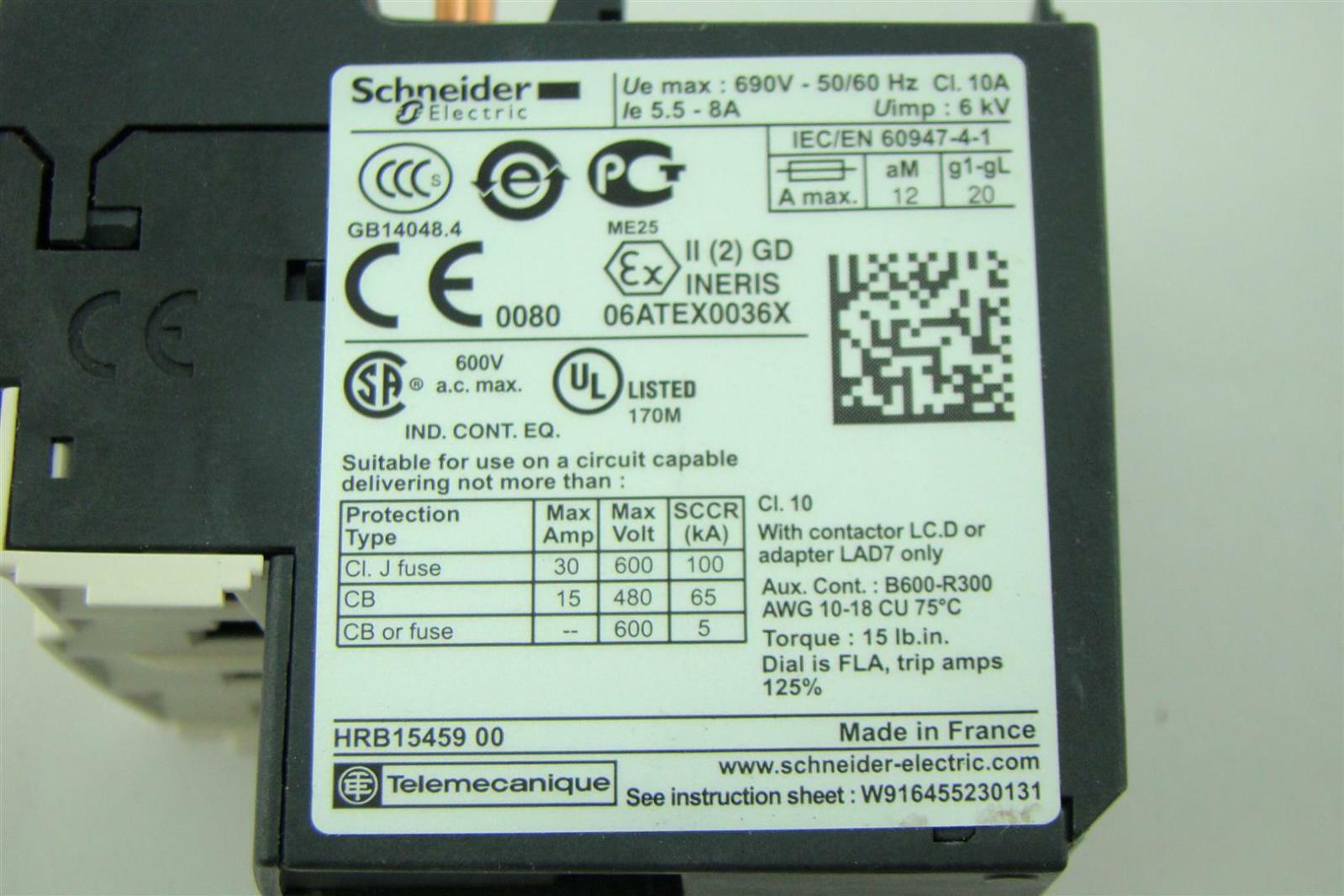 Schneider Electric Overload Relay 690v 50 60hz Cl 10a 55 8a Pdf