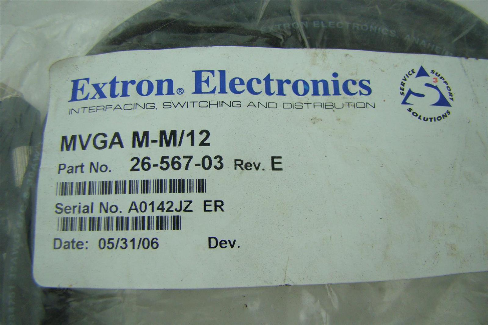 Details about Extron Electronics, Mvga M-M/12' , E234751 32Awg 3/C & 30Awg  15/C Awm Style 2027