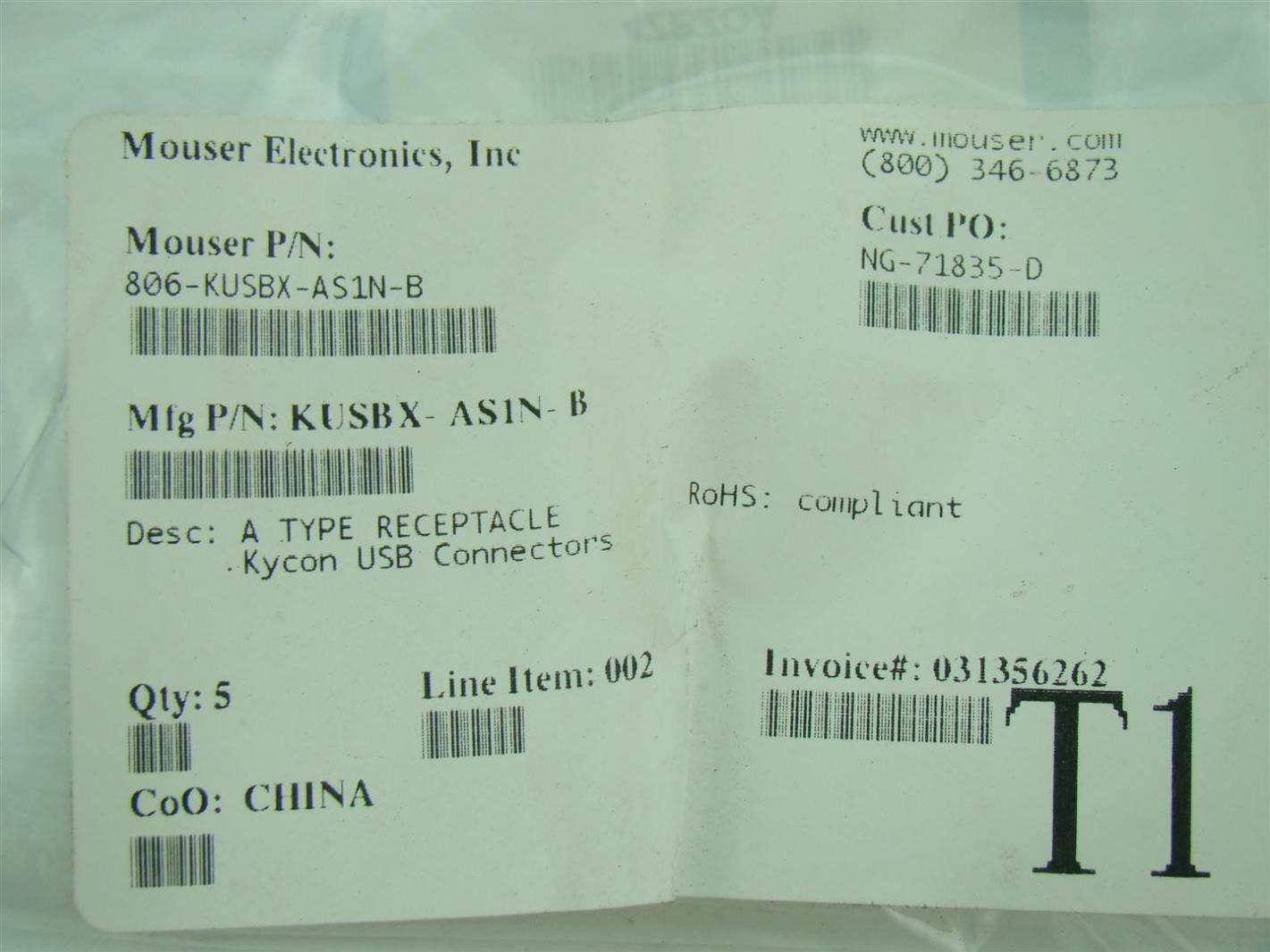 Mouser Electronics Kycon USB Connectors 806-KUSBX-AS1N-B