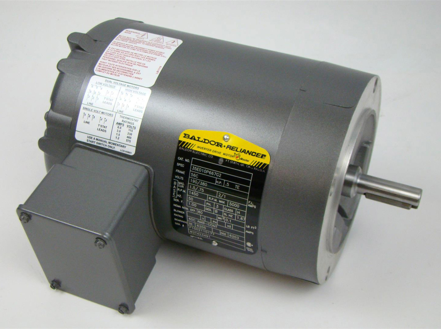 baldor reliancer inverter duty motor 1450rpm 3ph 56c 1 2hp