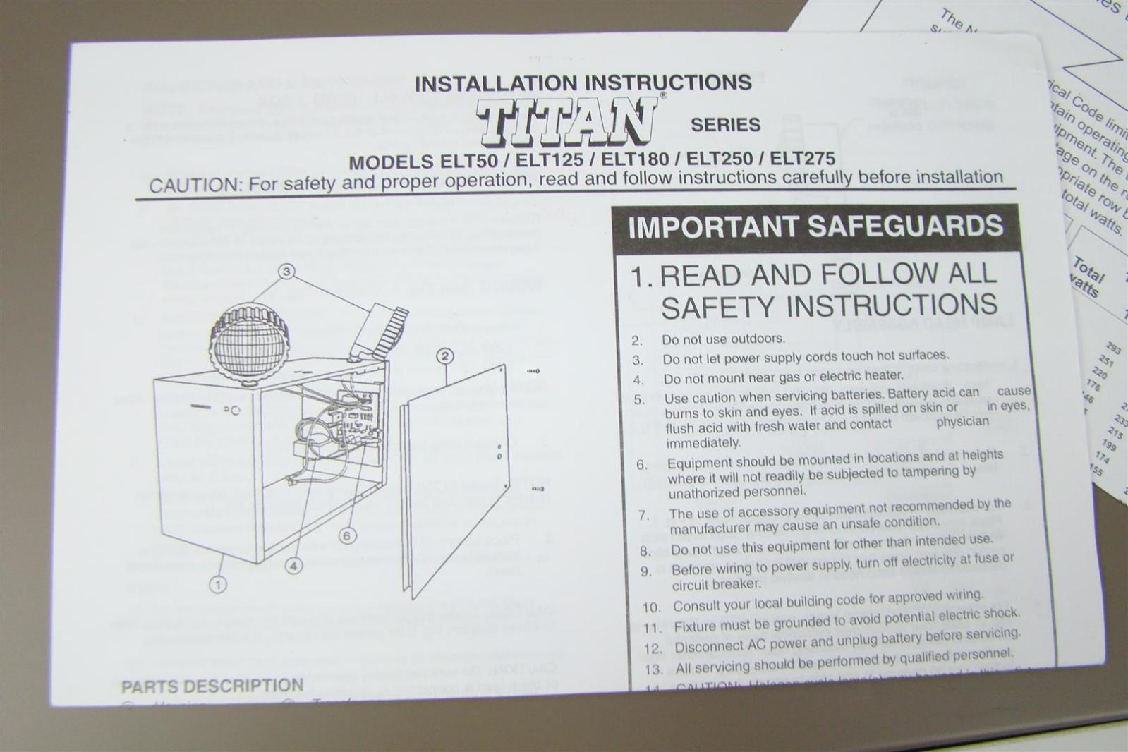 Lithonia Titan Battery Powered Emergency Light 125w 12v Elt125lb Ebay Lighting Wiring Diagram