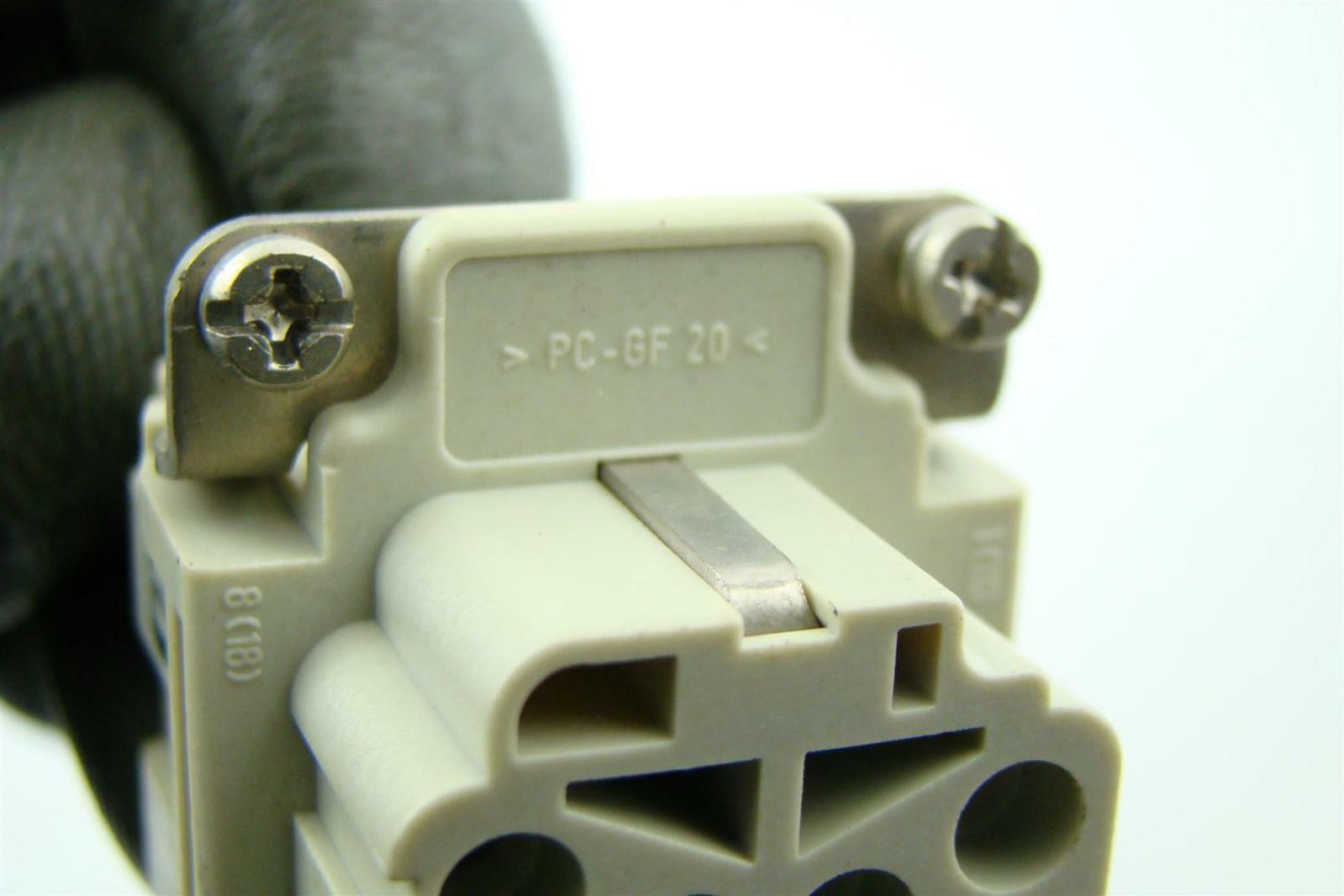 Harting 16A 500V Female Connector Plug Aluminum Hood Housing Side Entry PC-GF 20