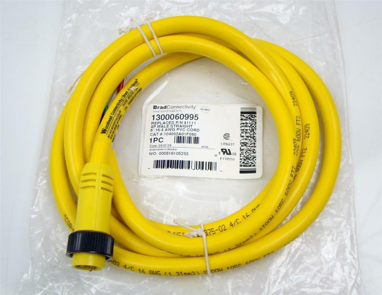 Brad Harrison 4P Male Straight 6\' 16/4 AWG PVC Cord 104002A01F060 | eBay