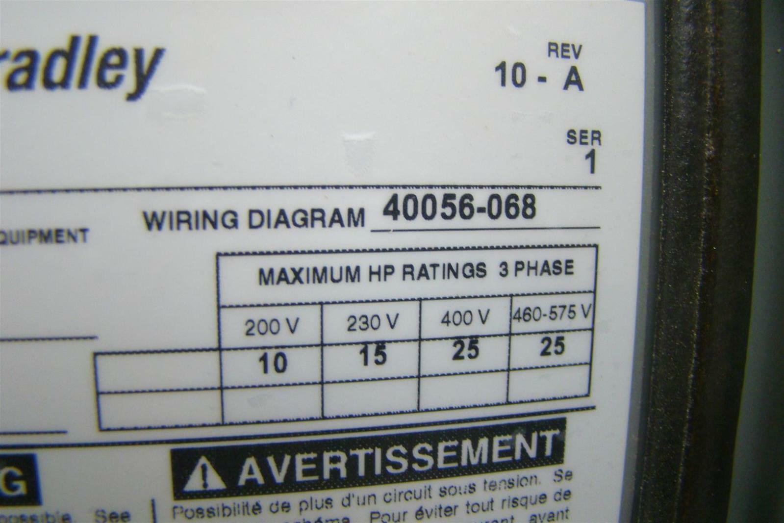 Allen Bradley 512 Combination Starter Wiring Diagram Modern Design Motor 3 Phase Diagrams 480 120v 3r 4 12 3ph Nx66 Rh Ebay Com Starters 609u