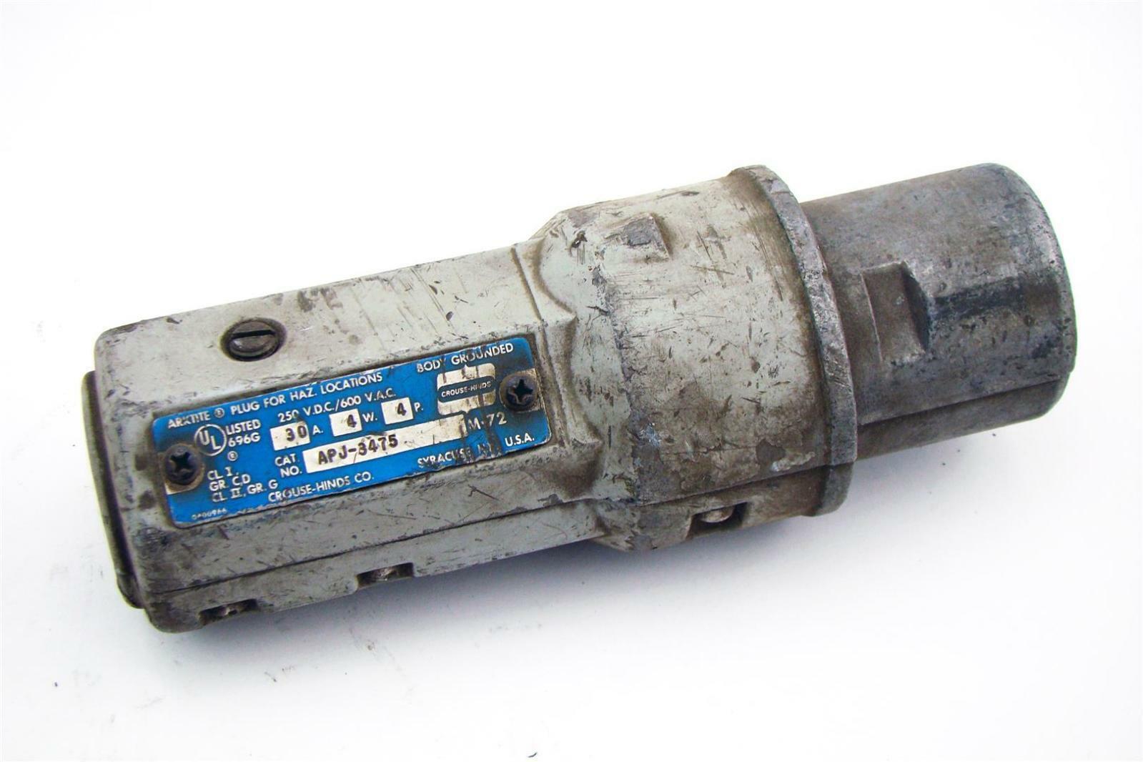 COOPER CROUSE HINDS ARKTITE HEAVY DUTY PLUG 600 VAC 30 AMP 4-POLE NPJ3484 30A