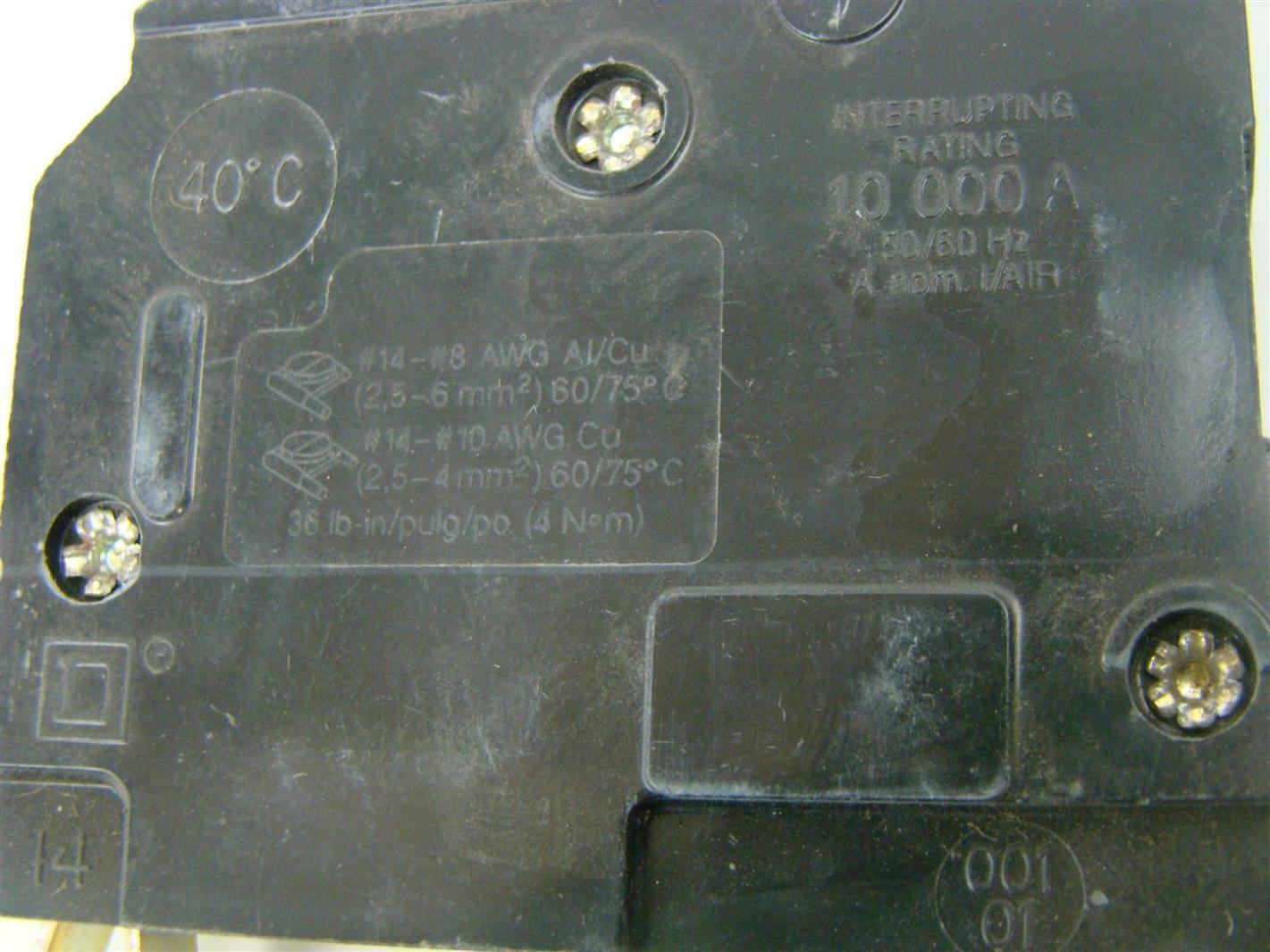 Square D Qo 20a Single Pole Circuit Breaker R 3369 Ebay Underside Of Brand
