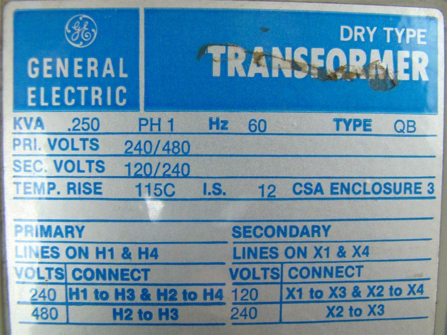Details about General Electric 9T51B7 Dry Type Transformer  25KVA,  240/480x120/240 1PH