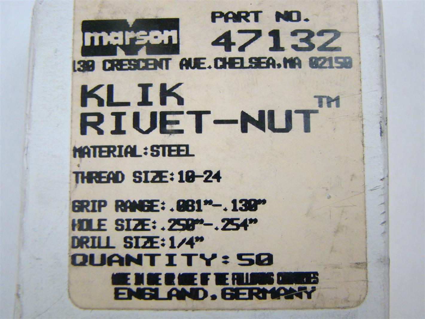 Details about (50) Marson Klik Poly-Nut Rivet-Nut Thread Size: 10-24, 47132
