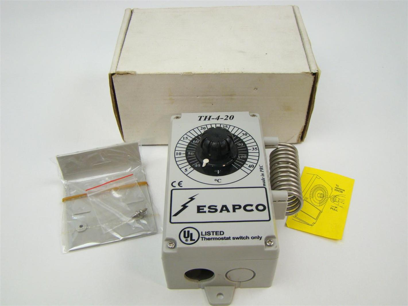 Esapco Weatherproof Line Voltage Thermostat Switch ,5-40C, TH-4-20 ...