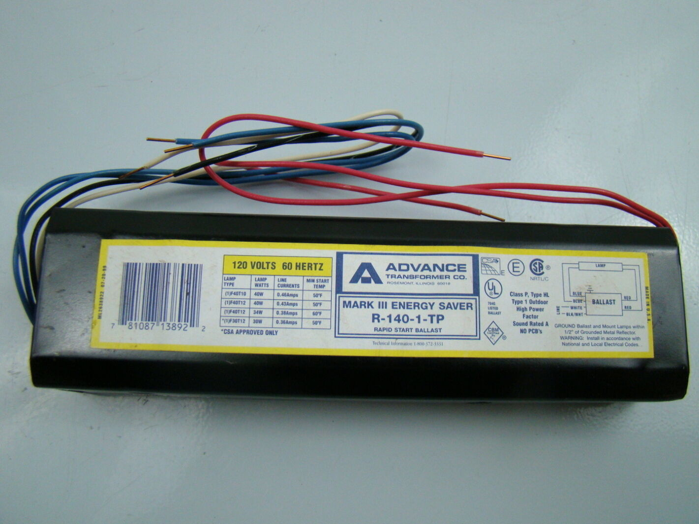 Details about Advance F40t10 Ballast Mark III Energy Saver 120V 60H R-140-1-TP