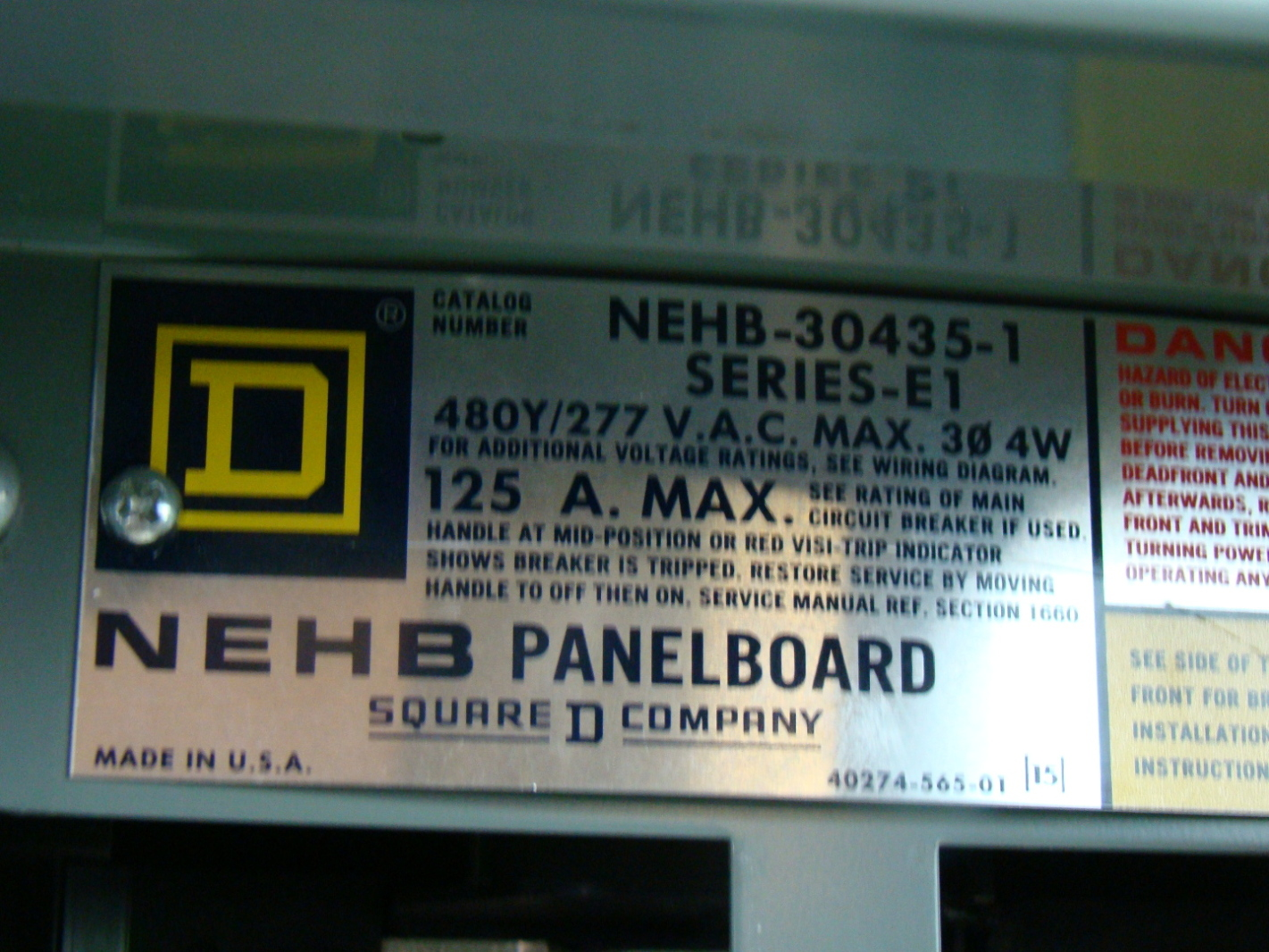 Square D 277 480v 125 Amp Nehb Panelboard 30435 1 Ebay Wiring Diagram