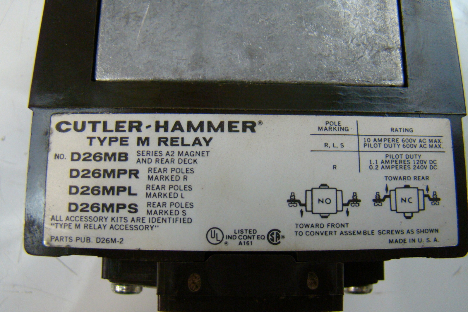 jf03011 cutler hammer 600v type m relay d26mb 9 cutler hammer 600v type m relay d26mb ebay on cutler hammer type m relay wiring diagram