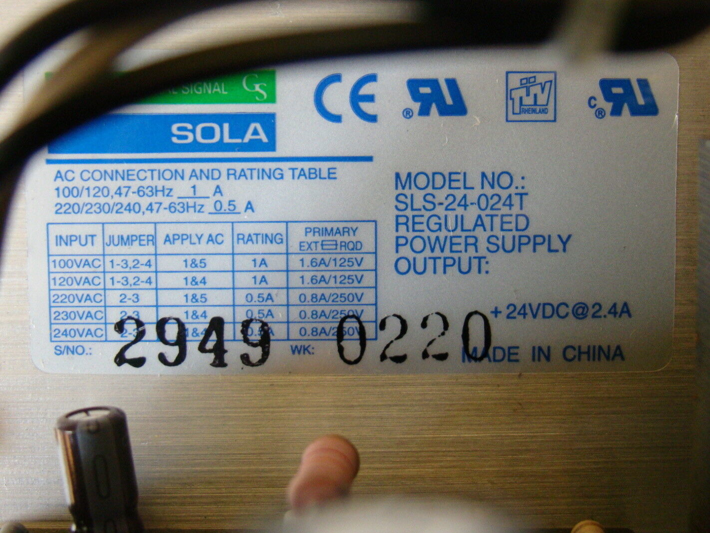 SOLA AC Connection And Rating Table SLS-24-024T | eBay