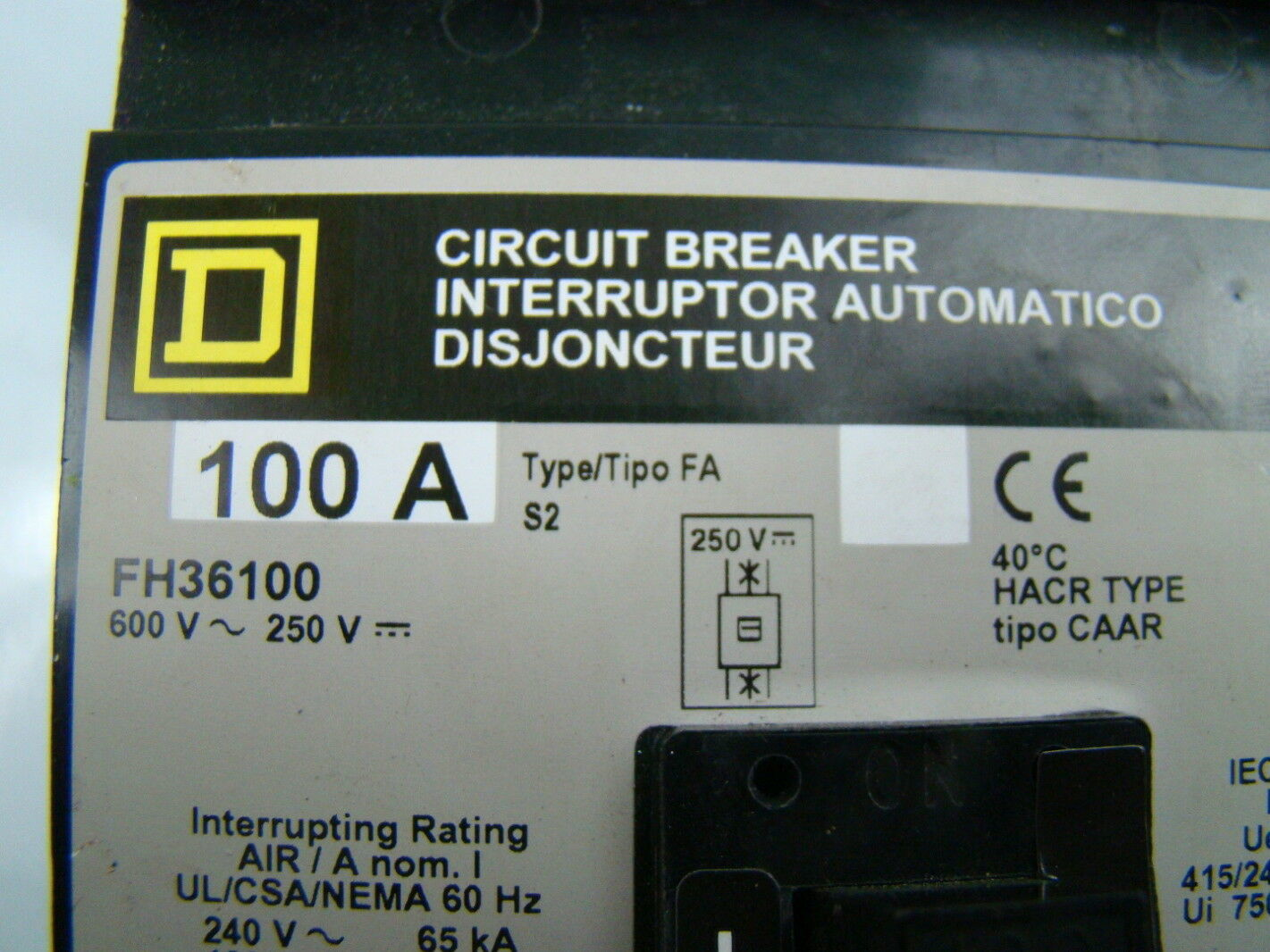 Square D I Line Circuit Breaker 100a 600vax 250vdc Fh36100 Ebay 25a Generator Lot Of 10