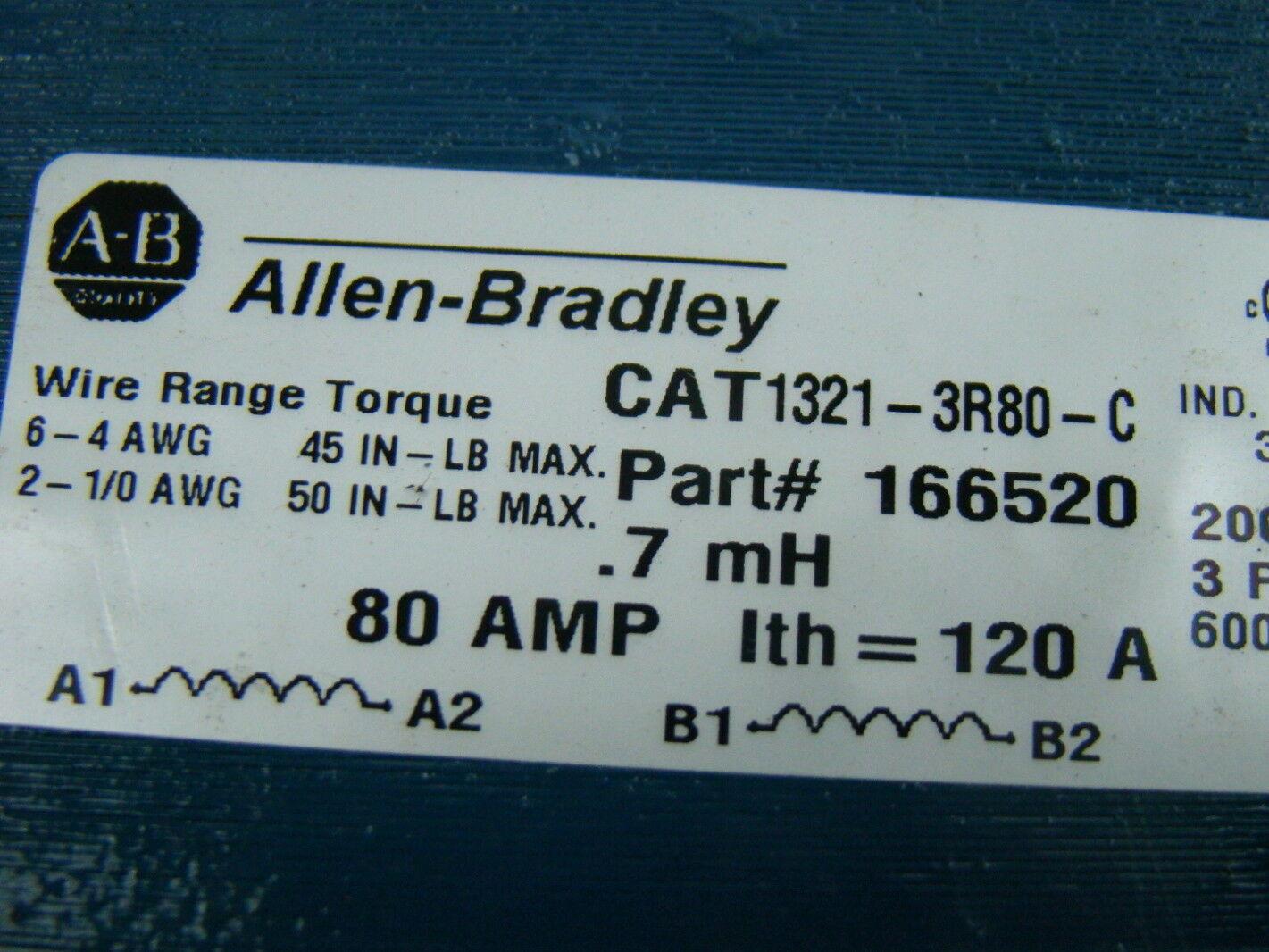Allen Bradley .7mh LINE REACTOR OPEN 480V 3PHASE 80AMP 166520 1321-3R80-C