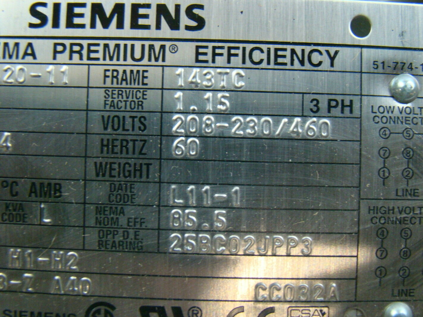Siemens 1 hp 1755 rpm electric motor sd100 ebay for Circuit breaker for 7 5 hp motor