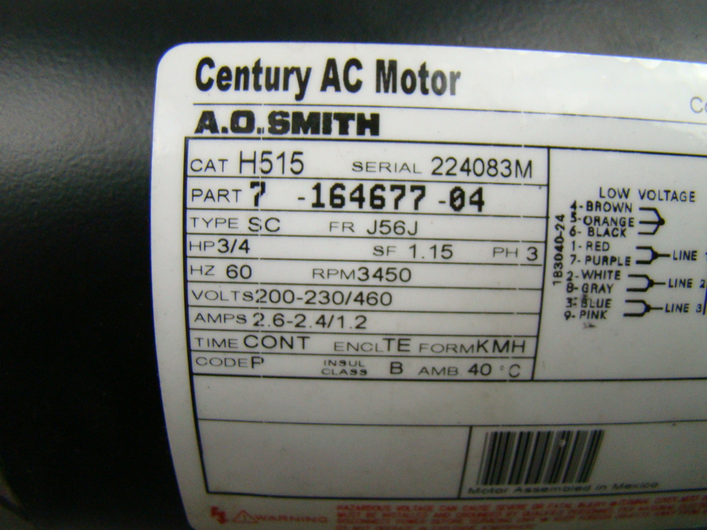 jf04344 ao smith 34 hp 3 phase 3450 rpm ac motor h515 2 a o smith corp 2 hp motoer wire diagram trype uak,o \u2022 indy500 co  at webbmarketing.co