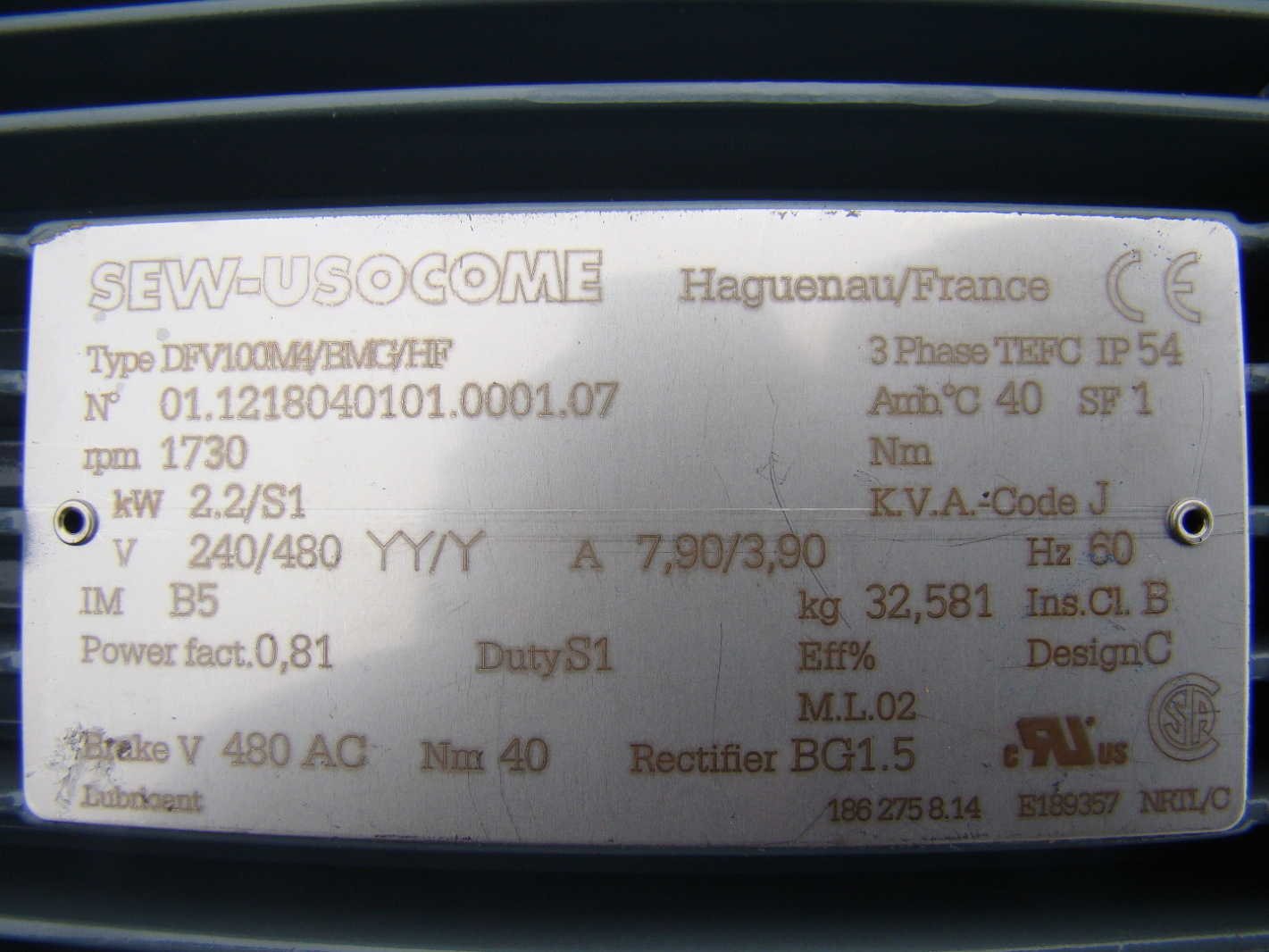 Sew Eurodrive Motor Nameplate Page 4 Frame Design Reviews Wiring Diagram Encoder Impremedianet Jf04419 4901 Gear 22kw 240480v Rf137 R77 Dv100h4