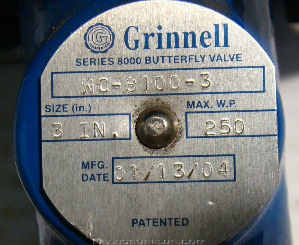 Grinnell,Series 8000 Butterfly Valve Morin Actuator MRP-009U-K-S040
