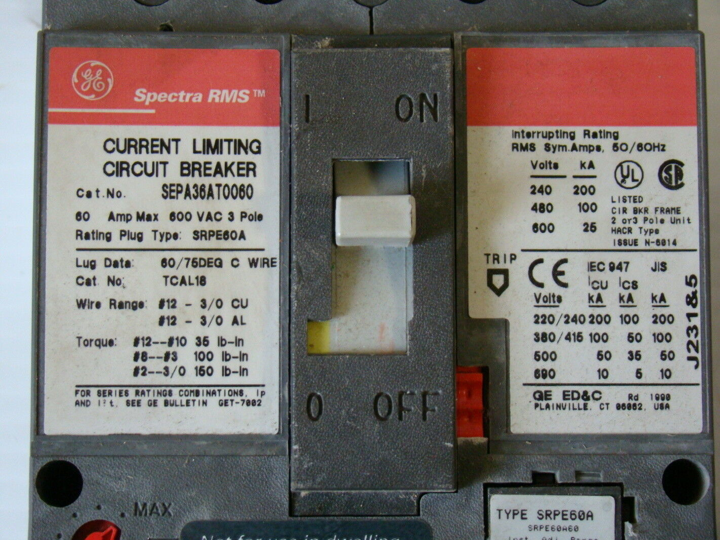Ge Spectra Rms 60a Current Limiting Circuit Breaker