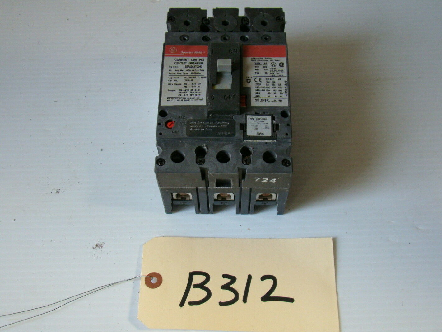 Ge Spectra Rms60a Current Limiting Circuit Breakersepa36at0060 Ebay Currentlimiting Supply With Reference Amplifier Diagram