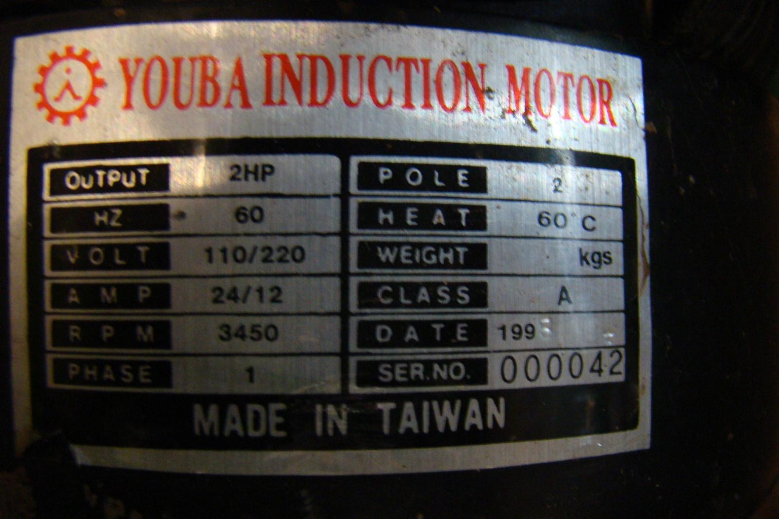 Kufo Blower 1224 Cfm Youba 2hp Motor 110v 220v Uf0 101 Ebay 2 Hp Wiring