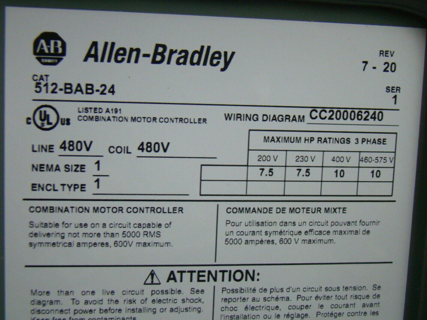 Allen Bradley 512 Combination Starter Wiring Diagram Modern Design 3 Phase For 120v 480v Size 1 Motor Bab 24 Rh Fazziosurplus Com Mcc Diagrams Starters 609u