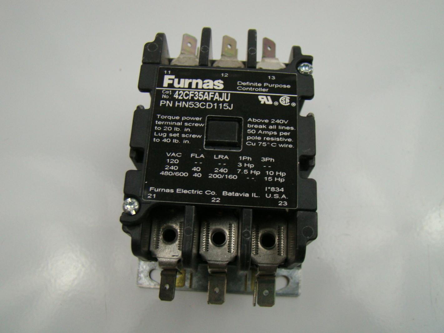Furnas 50a 3 Pole Contactor 480 600v Hn53cd115j 42cf35afaju Ebay 240 Phase Wiring