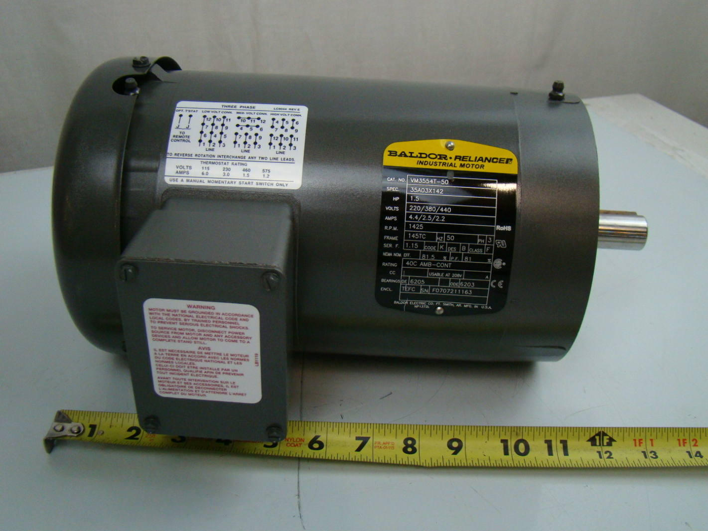 Baldor 1 5 hp 1425 rpm electric motor vm3554t 50 ebay for Baldor industrial motor parts