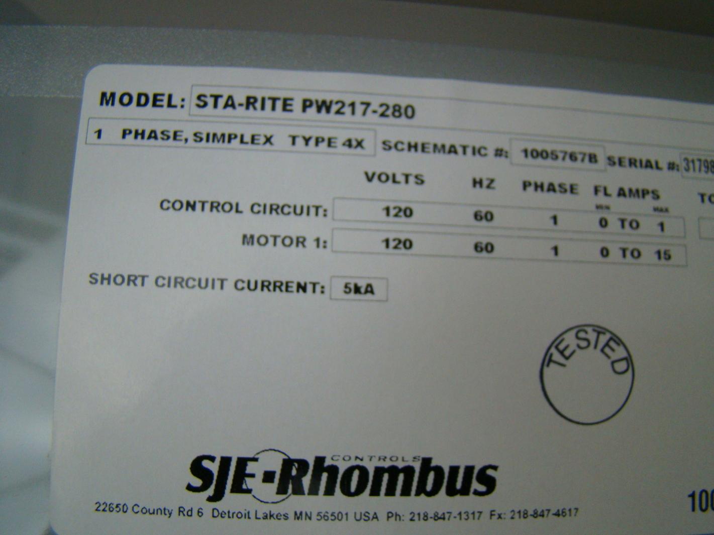 Sje Rhombus Wiring Diagram Flojet Wellmate Pump Sta Rite 1 2hp 115v Submersible Sewage W Control Panel