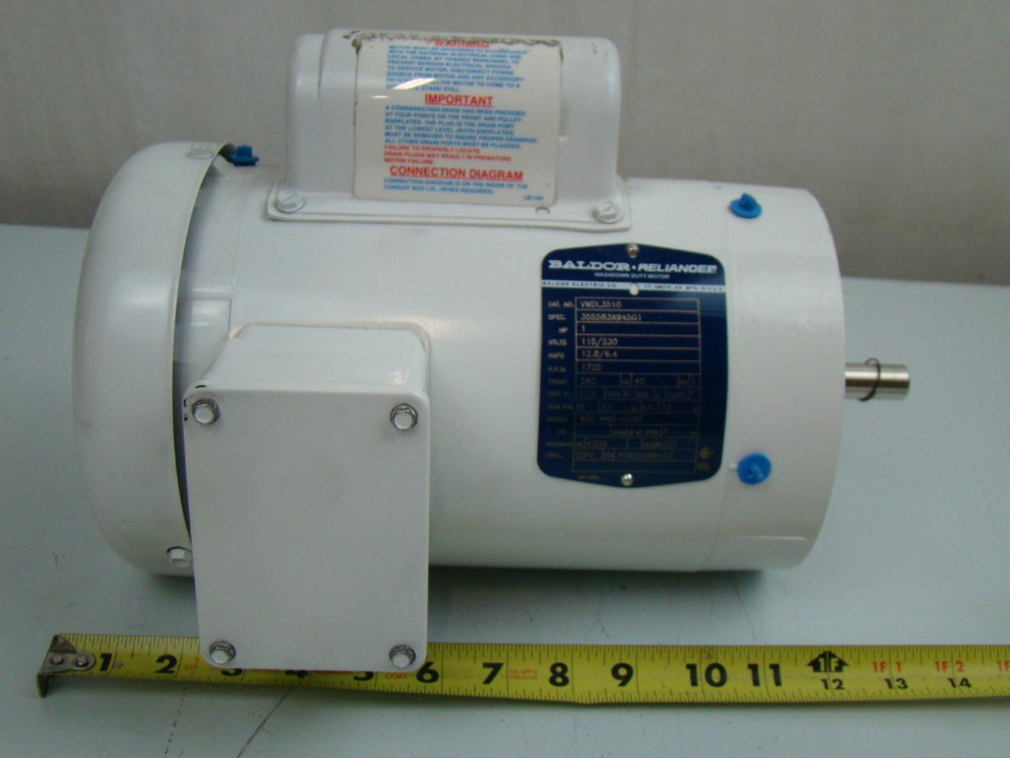Baldor 1 3 Hp 1425 Rpm Electric Motor Vwdl3510 Ebay 10 Horse Single Phase Wiring Diagram
