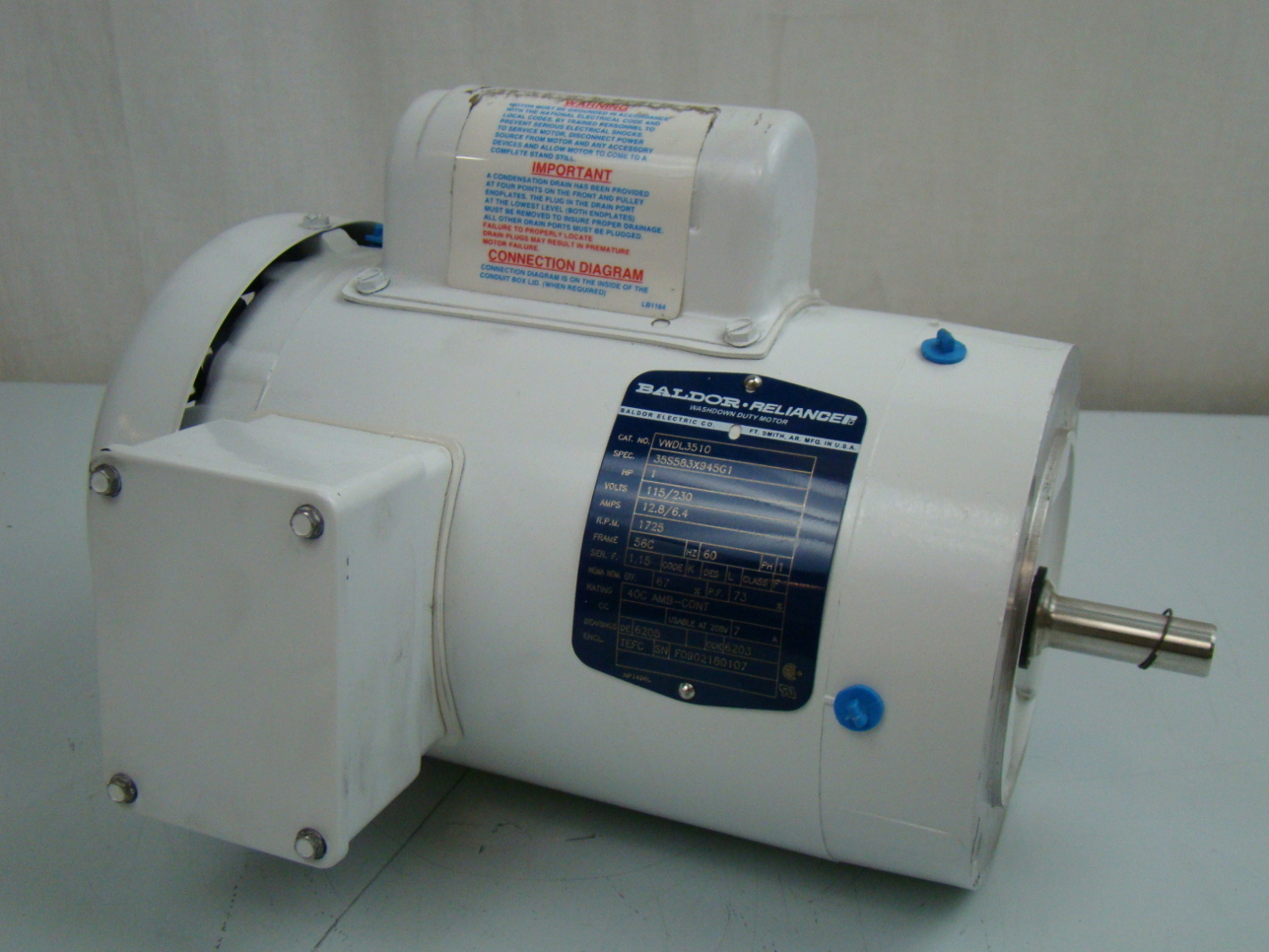 HAS SHORT SHAFT 1425 RPM NEW BALDOR ELECTRIC MOTOR 34M763S335G1  1//3 HP