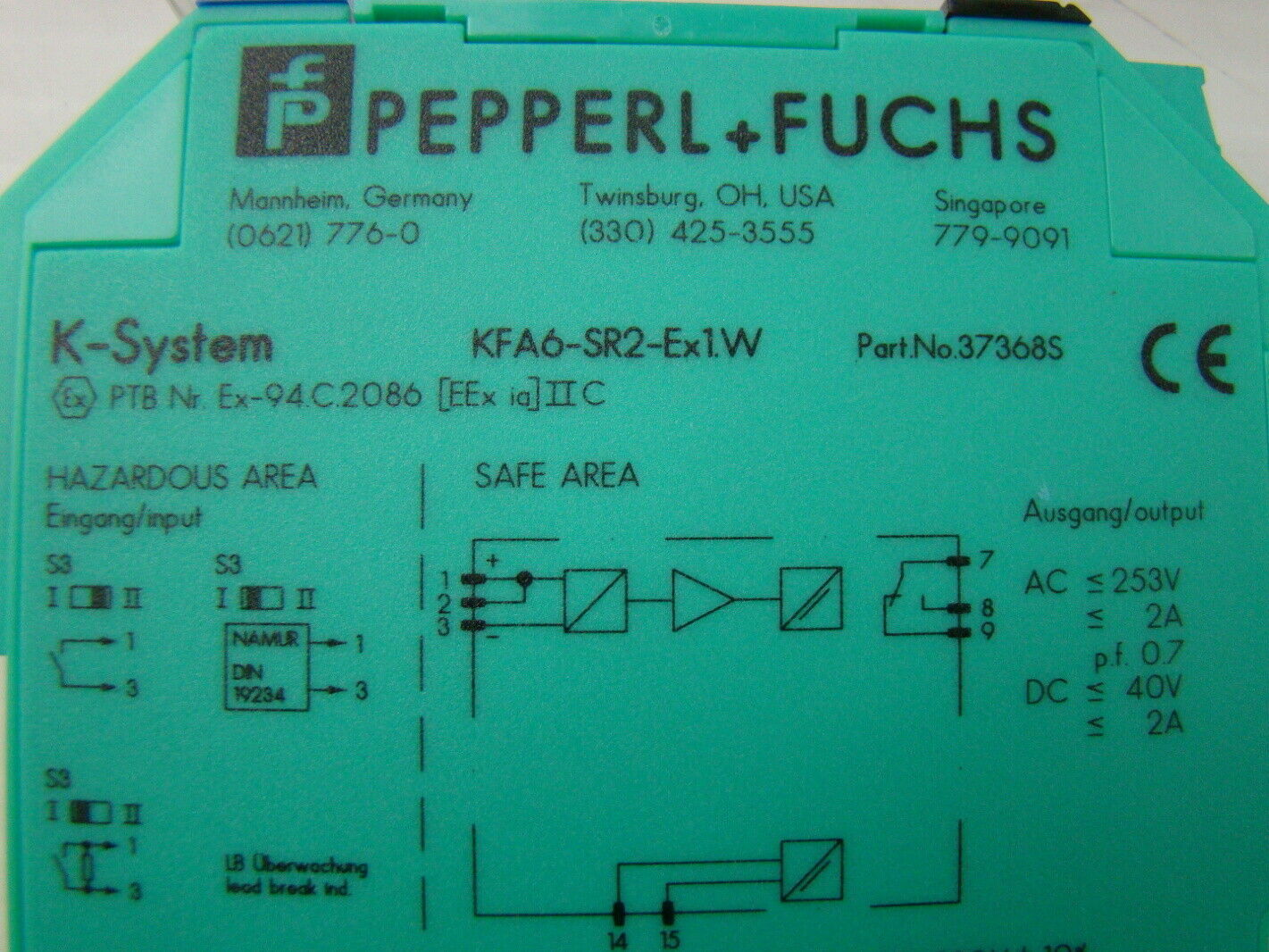 jf07188 pepperl fuchs isolated switch amplifier kfa6 sr2 ex1w 10 pepperl fuchs isolated switch amplifier kfa6 sr2 ex1 w ebay kfd2-sr2-ex1.w wiring diagram at love-stories.co