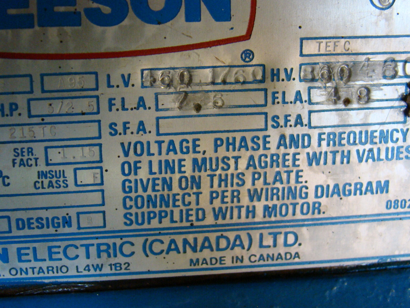 Leeson 5hp Electric Motor 460 860v C040246 Ebay 5 Hp Wiring Diagram