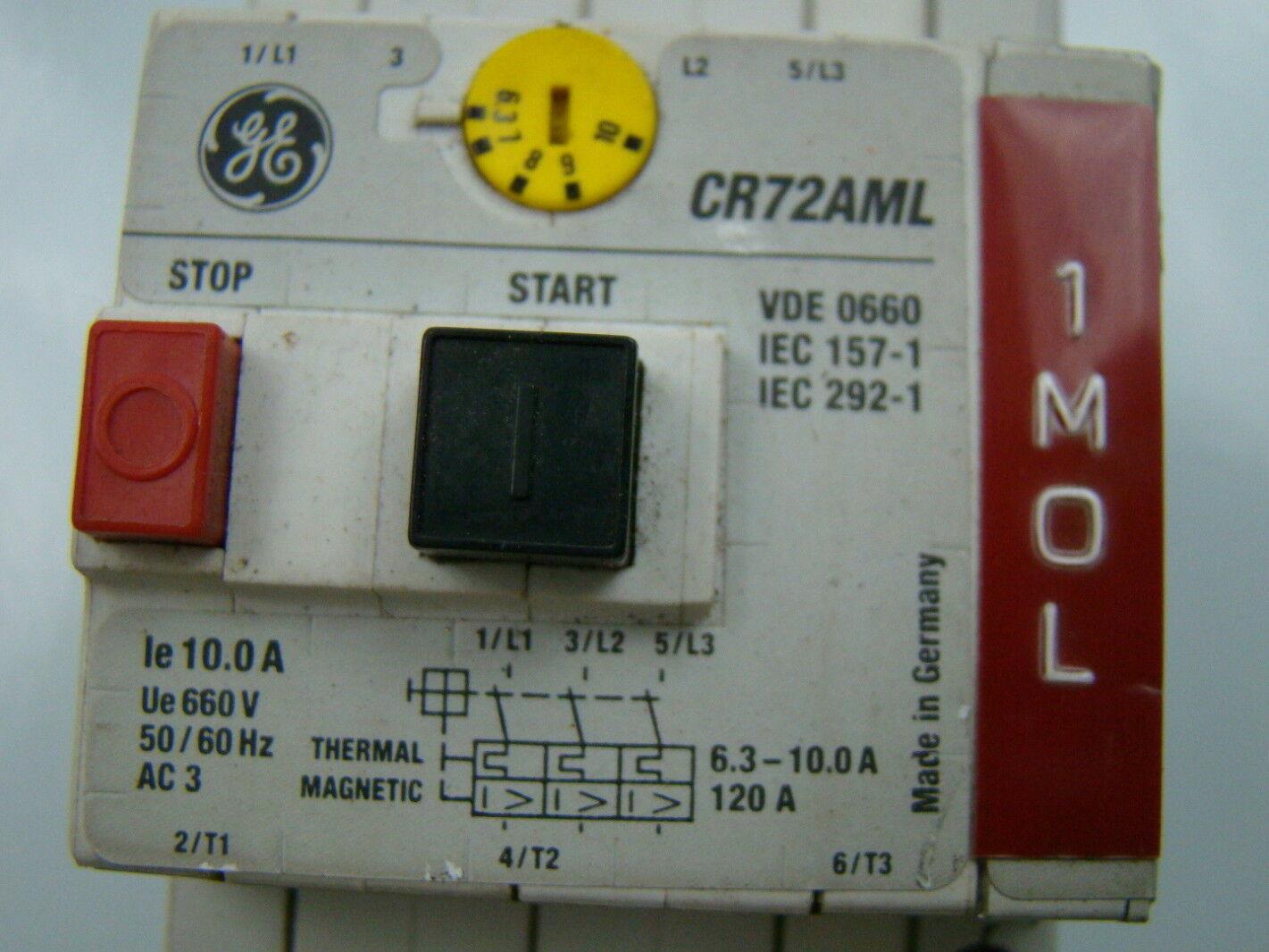 GE Starter Motor Protector 6.3-10A    CR72AML   w//  CR72AXA11