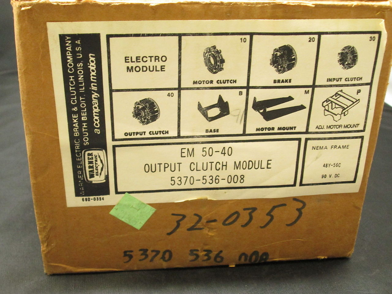 ... Warner Electric Electro Module EM-50-40 5370-536-008 Output Clutch