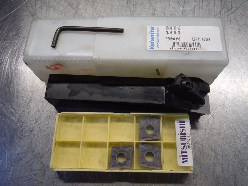 Valenite Indexable Lathe Tool Holder DCLNL 16 6D w/ Qty3 CNMG 644 (LOC2214)