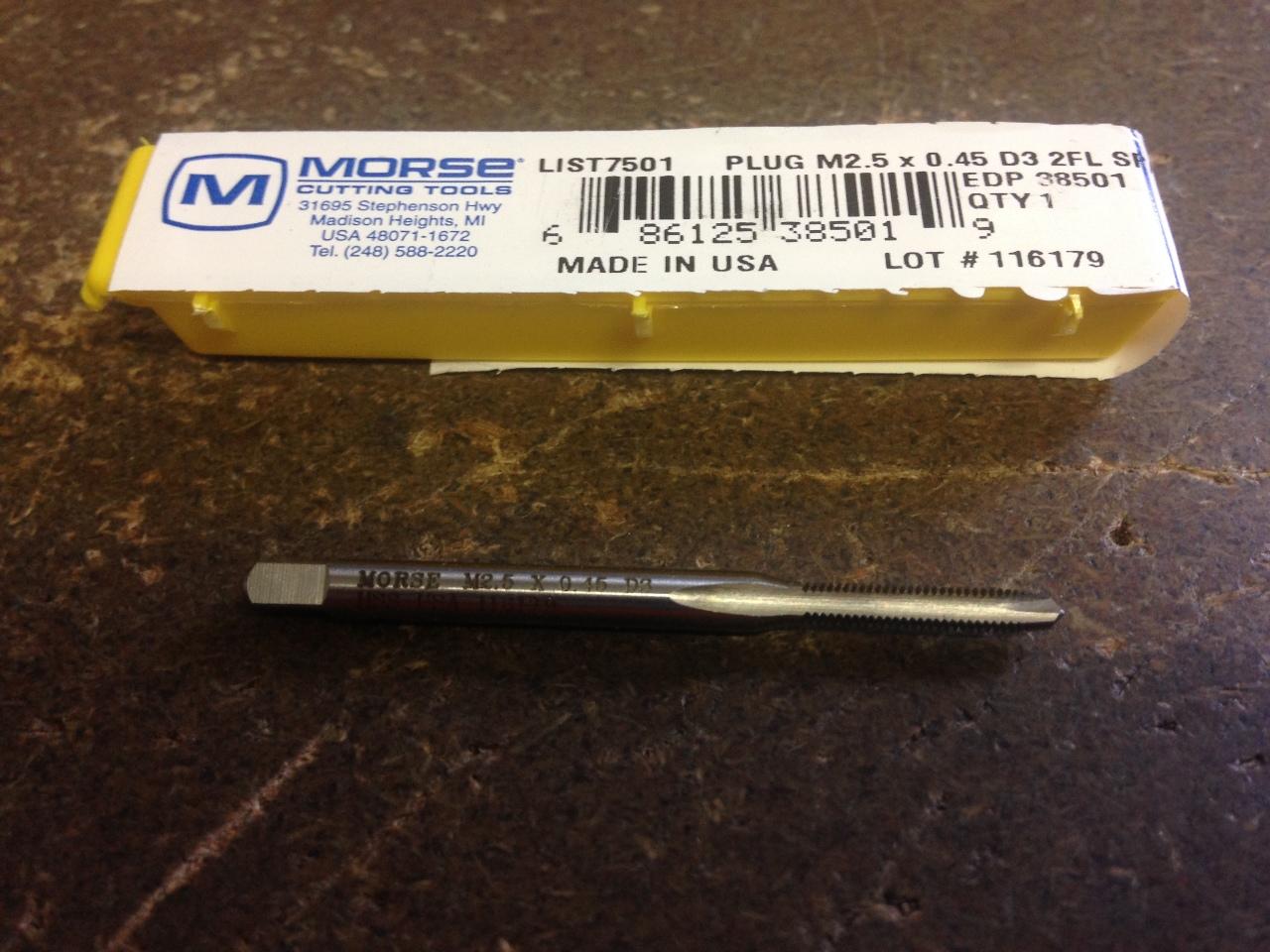 NEW USA M2.5 x 0.45 HSS Chrome Spiral Point Plug Tap D3 2FL .45mm Pitch