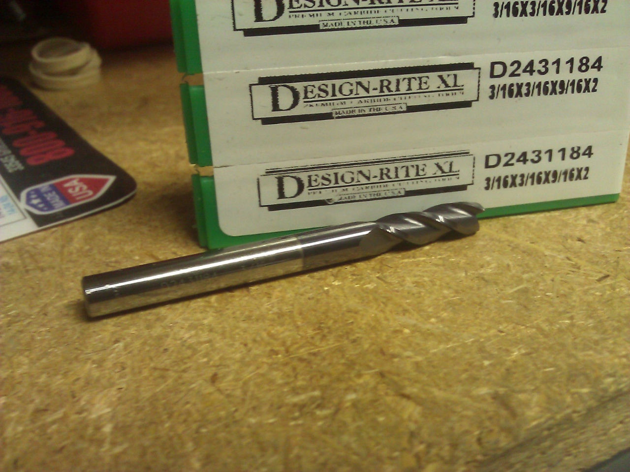 "3/16"" 3 FLUTE SE .010r TiAlN CARBIDE END MILL 3/16"" X 3/16"" X 9/16"" X 2"""