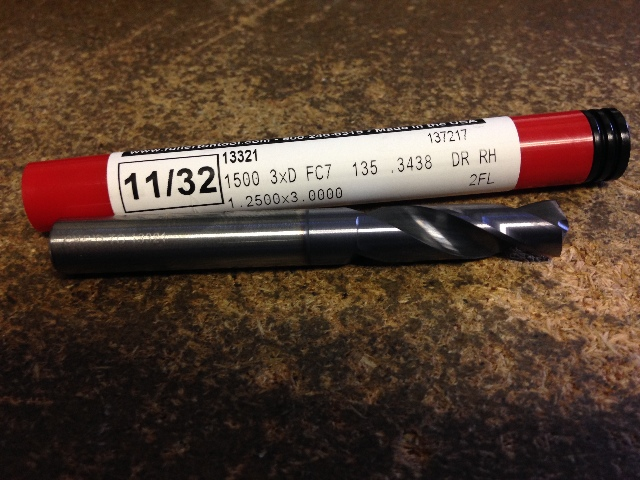 "11/32"" .3438"" STUB LENGTH CARBIDE DRILL 1520FC7 11/32"" X 11/32"" X 1-1/4"" X 3"""