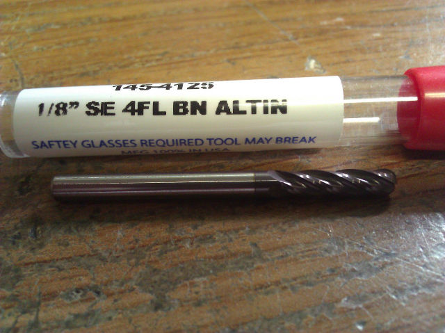 """.125"""" 1/8"""" 4 FLUTE SINGLE END AlTiN COATED CARBIDE BALL END MILL"""