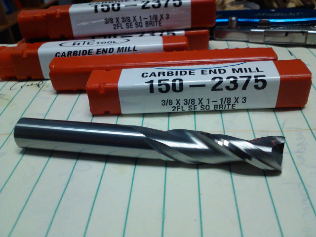 ".375"" 3/8"" 2 FLUTE SINGLE END LONG LENGTH CARBIDE END MILL 3/8"" x 3/8"" x 1-1/8"" x 3"""