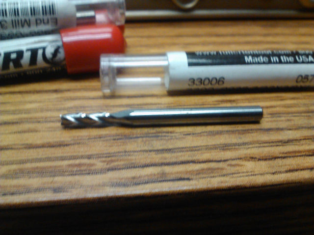 ".0938"" 3/32"" 3 FLUTE SINGLE END CARBIDE END MILL 3/32"" x 1/8"" x 3/8"" x 1-1/2"""