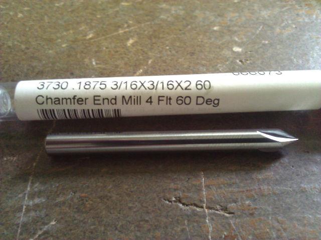.1875 3//16 4 Flute 90 Degree Carbide Chamfer Mill