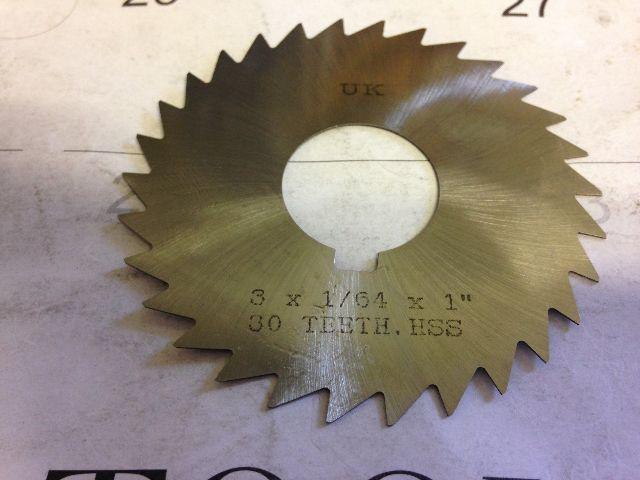".0156"" 1/64"" X 3"" X 1"" ARBOR HOLE HIGH SPEED STEEL PLAIN METAL SLITTING SAW"