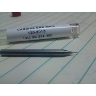 ".0156"" 1/64"" 2 FLUTE SINGLE END CARBIDE END MILL"